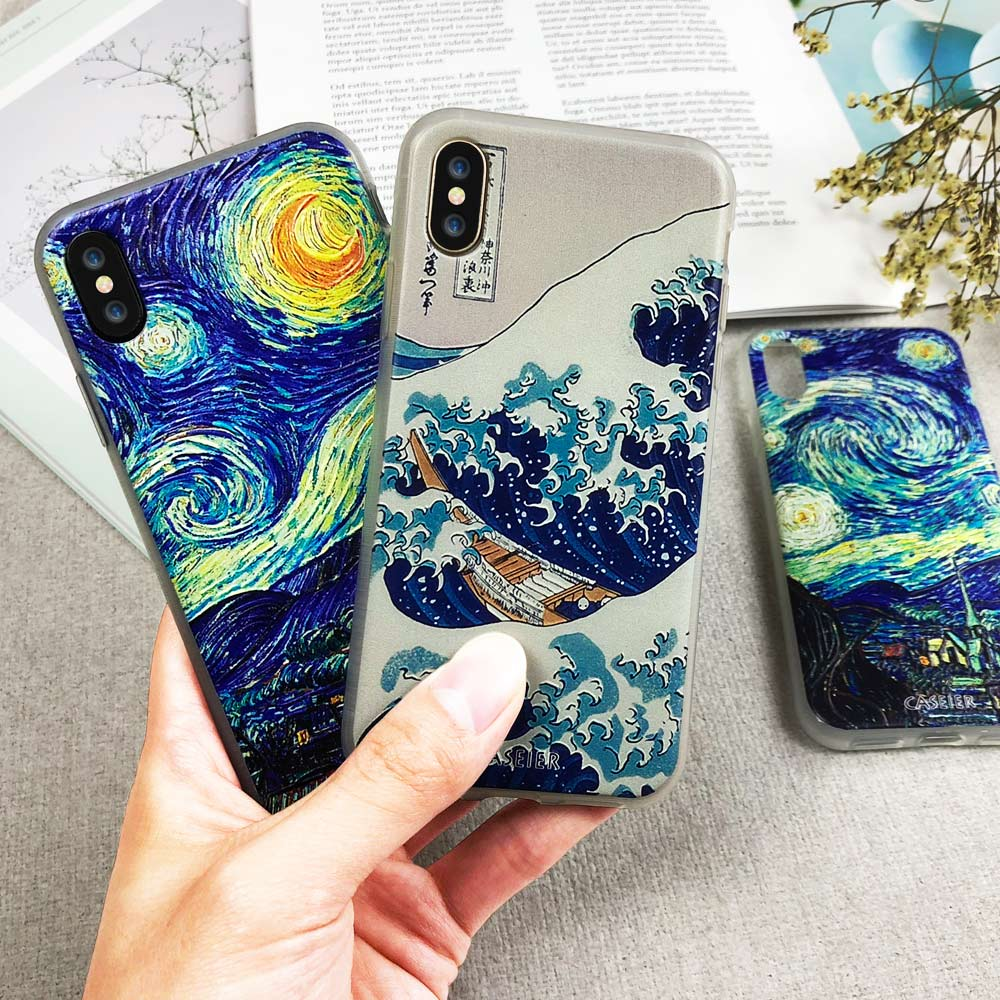 CASEIER Case For Huawei Mate 20 10 Lite P20 P10 Pro P Smart Y9 Starry Surfing Emboss Cases For Huawei Mate 10 Y9 Cover Fundas in Fitted Cases from Cellphones Telecommunications