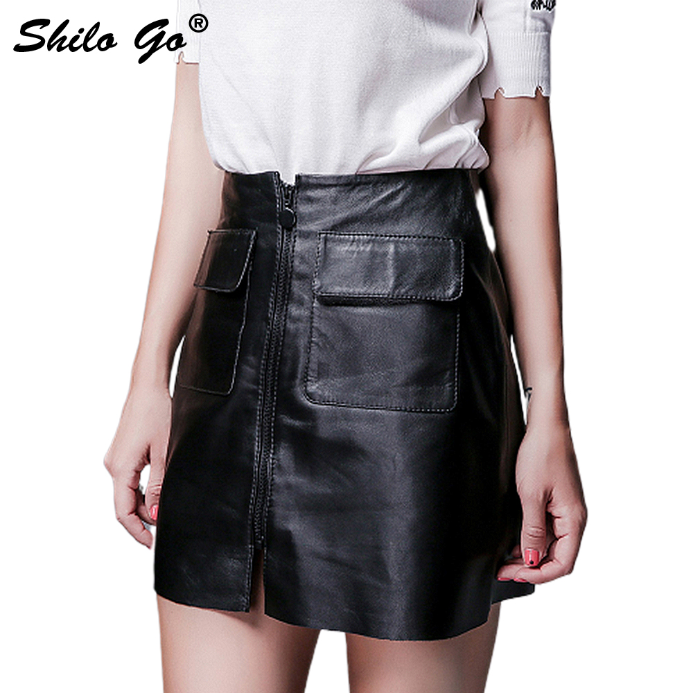 Leather Skirt Autumn Fashion Sheepskin Genuine Leather Skirt High Waist Sexy Front Zipper Double Front Pocket Skirt