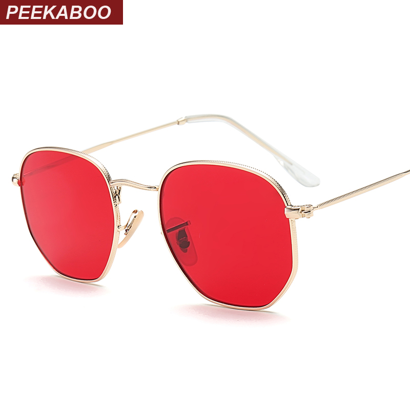 Peekaboo small square sunglasses men gold thin metal frame blue green tinted red sun glasses for women 2017