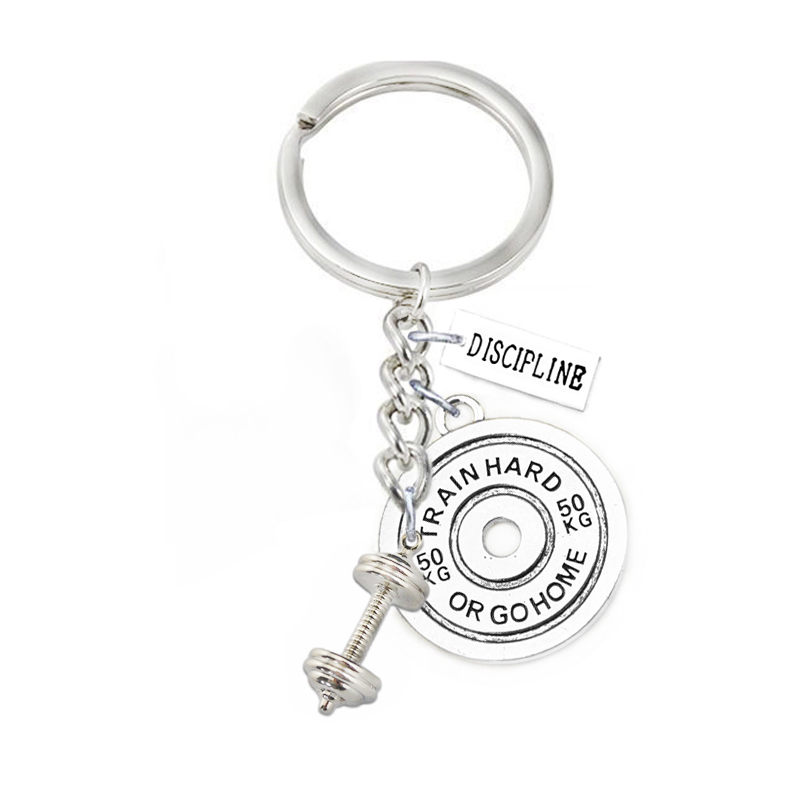Key Chains Double Nose Yiwu Aliexpress Wholesale Weight Lifting Dumbbell Weight Plate Gratitude Fitness Keychains & Key Finders Jewelry Jewelry & Accessories