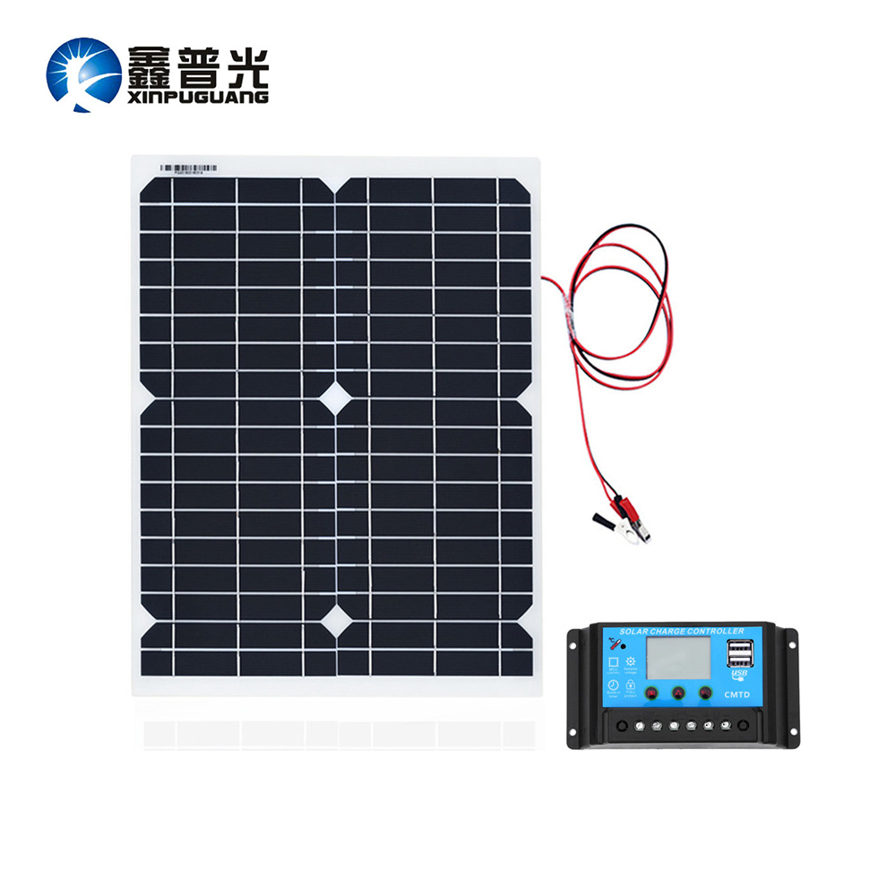 20w 18V Flexible Solar Panel Mono Module 10A 12v//24v Controller RV Boat Car