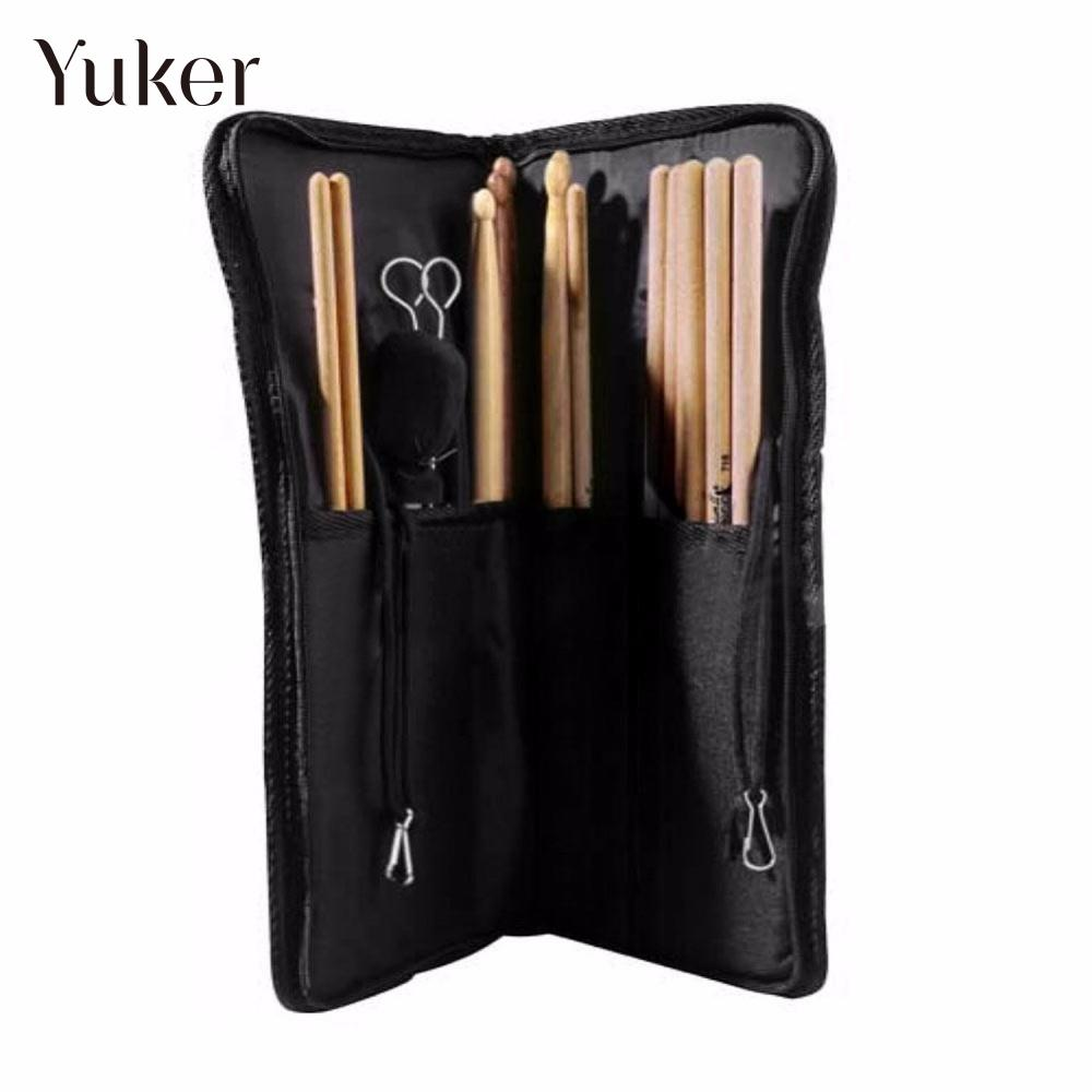 Yuker Black Nylon Drumstick Bag Beater Mallet Brush Drum Stick Storage Shoulder Case Bag Holder Pouch Gigbag Durable