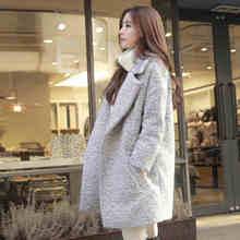 Hchenli Woolen jacket female long 2017 winter Korean casual wear thick cocoon wool woolen coat Grey