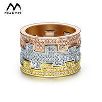 MDEAN White Gold Plated Rings For Women Wedding Ring Engagement Women Rings Vintage Bague Luxury Ring