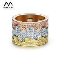 MDEAN 3 Tunes Cor Ouro Branco Anéis para as mulheres anel de noivado casamento Mulheres Anéis Bague anel De Luxo da moda jóias MSR874