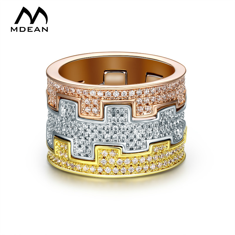MDEAN 3 Tunes White Gold Color Rings fors