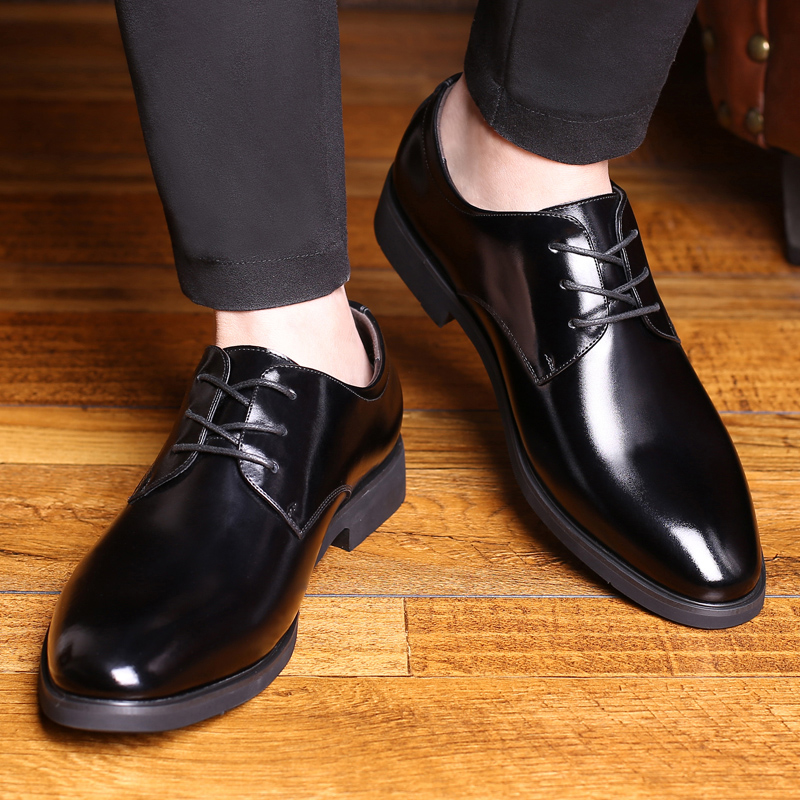 Shoes Mens Leather Shoes Mens Leather Summer 2018 New Mens Business Dress Korean Style Casual Black Leather Shoes Special Buy