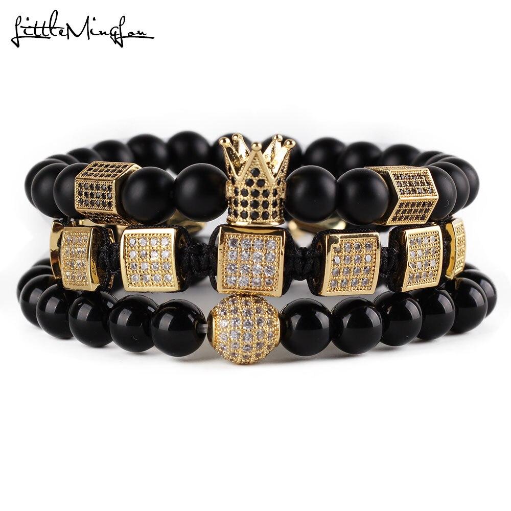 3pcs/set natural stone beads men bracelet set CZ copper square braiding hexagon crown ball charms bracelets & bangles Jewelry