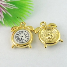 Wholesale 20pcs/Lot  Charm Pendants Clock Gold Jewelry Makings&Findings Jewelry finding fine Necklace Handmade Bracelet Decorate