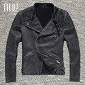 Capa de la chaqueta de los hombres 100% piel de vaca cuero genuino de la vendimia chaqueta de la motocicleta de cuero real abrigos veste cuir homme cappotto LT1024