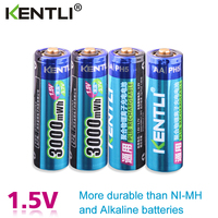 KENTLI 4pcs/lot Stable voltage 3000mWh aa batteries 1.5V rechargeable battery polymer lithium li ion battery for camera ect