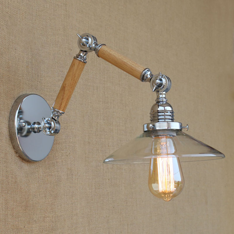 Vintage Adjustable Swing Arm Wood Glass/white Wall Lamp E27 Led Modern Light Decorative For Workroom Bedroom Living Room Bar american style modern chorme wall lamp swing arms bedroom light bar vintage robot arm wall lamp sconces luces decorativas lamba