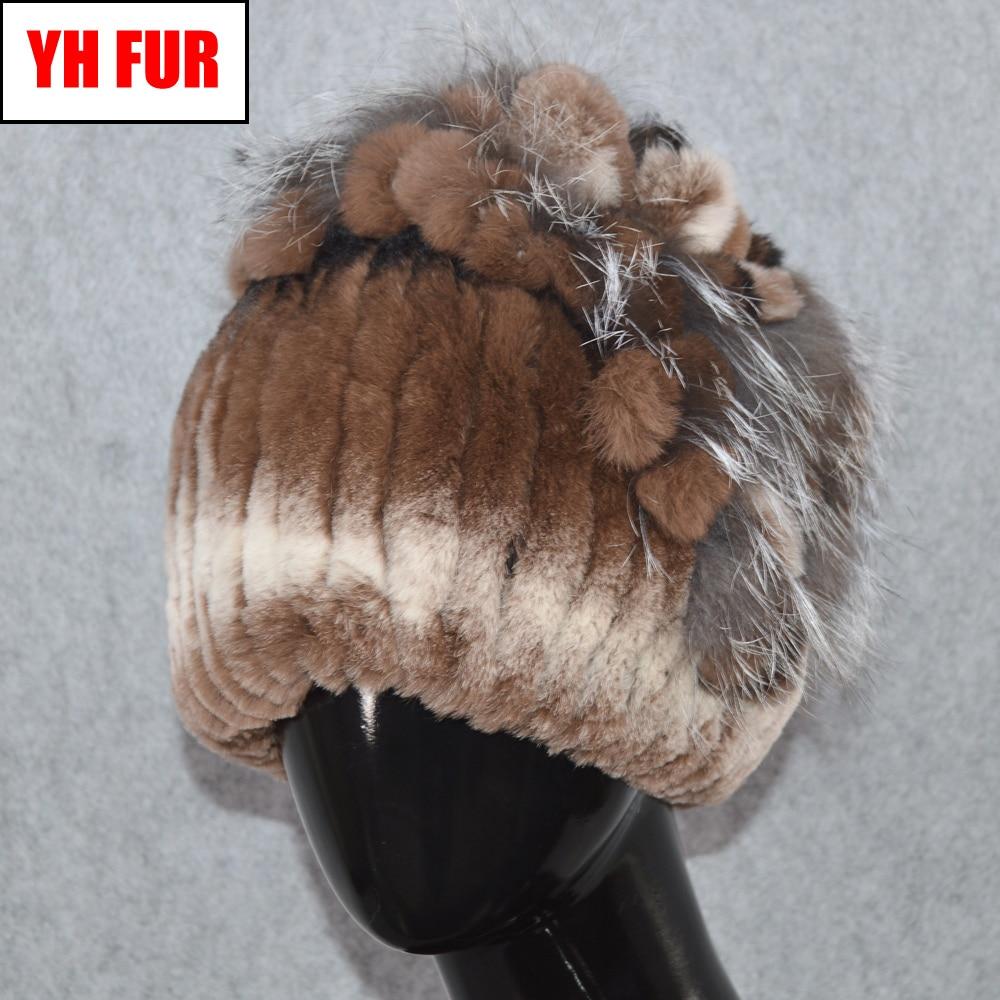 Genuine Rex Rabbit Fur Hat Women Real Rex Rabbit Fur High Elastic Knit   Skullies     Beanies   Hats Handmade Real Rex Rabbit Fur Cap