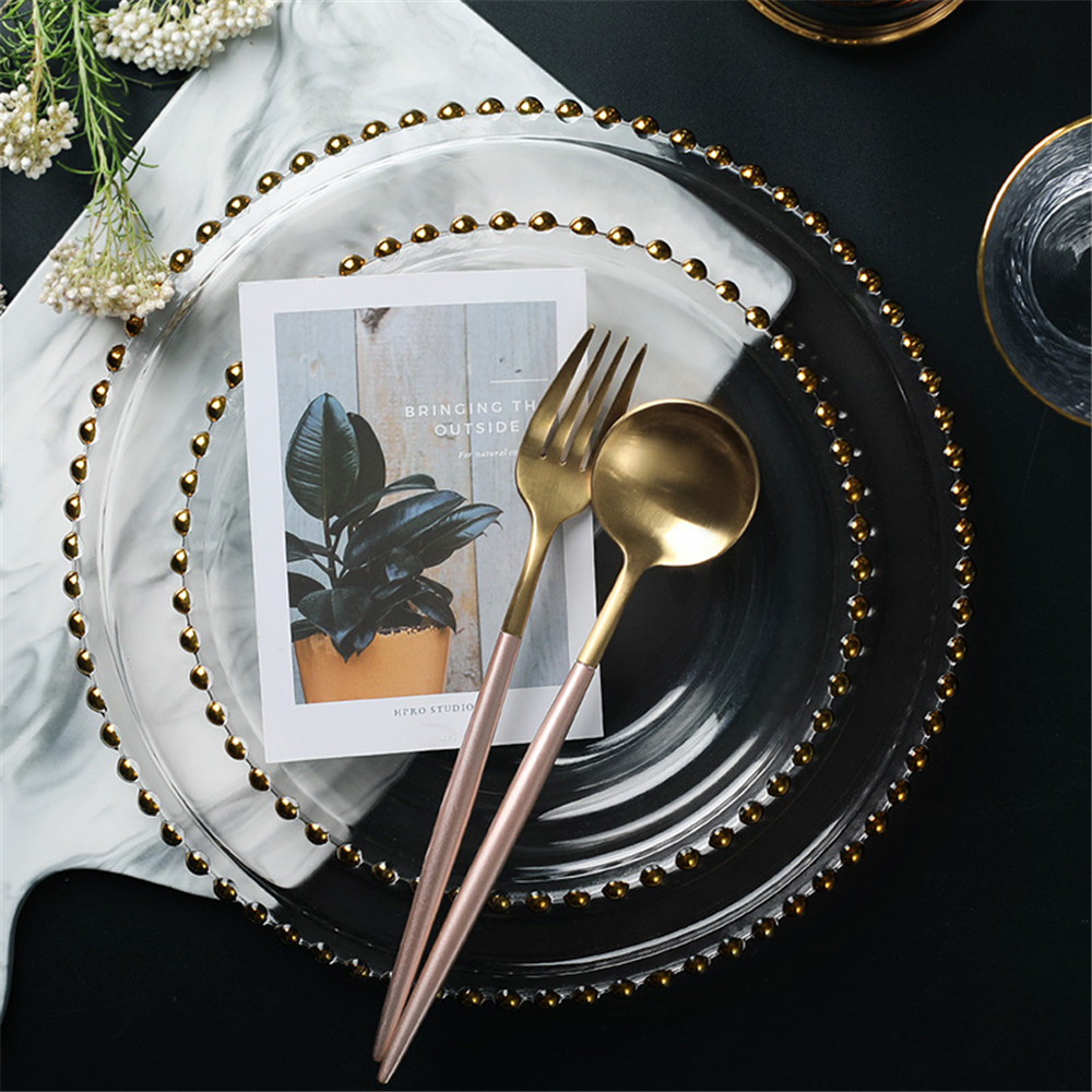 Luxury Clear Glass Plate Electroplated Gold Plated Retro Beaded Phnom Penh Dinner Fruit Dishes Plate Household Restaurant 1PCS