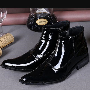 European style patent genuine leather military boots black ankle boots men height increasing cowboy boots mens dress shoes