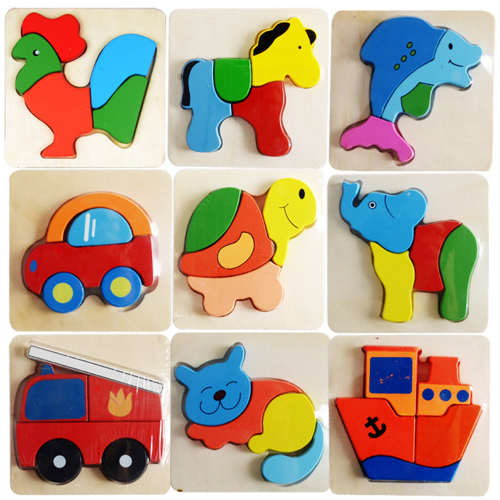 Baby Toys Children 3D Magnetic Puzzle Jigsaw Wooden Toys Cartoon Animals Puzzles Tangram Child Educational Toy for Children