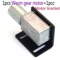 High torque 1pcs 24RPM 12V NEW DC Gearmotor +1pcs Motor bracket 12v Worm motor dc gear brushless dc motor free shipping