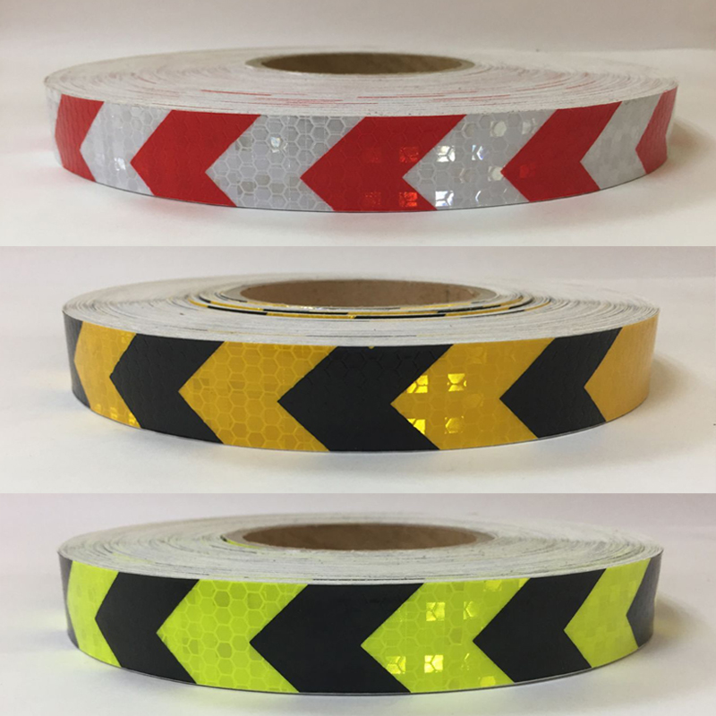 25mm X 25m PVC Safety Reflective Warning Tape Conspicuity Film Sticker Multicolor