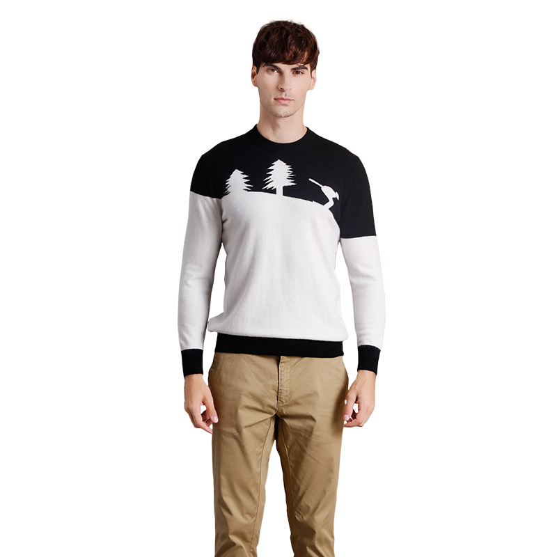 Men's Autumn Winter Slim Fit Pullover Cashmere Sweater