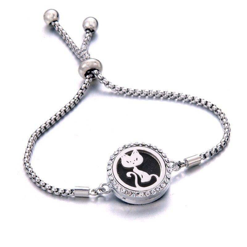 Cute Cat bracelet Perfume Aroma Diffuser Essential Oil Aromatherapy Lockets Bracelets women small size crystal bracelet jewelry