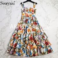 Svoryxiu Early Autumn Runway Cotton Dress Women's Spaghetti Strap Slim Floral Print Ball Gown Cascading Ruffle Boho Dresses
