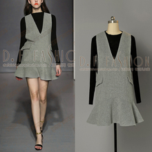 Tracksuits Knee-length Rushed 2016 Autumn New Small Knitted Shirt Collar +v Long Sleeved Flounce Strap Dress Set Women 2 Pieces