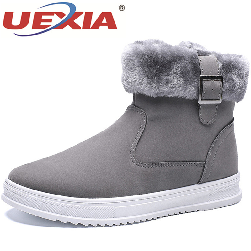 UEXIA Winter Men Boots With Fur Plush 2018 New Warm Snow Boots Men Casual Shoes Men Sneakers Footwear Fashion Rubber Ankle Shoes new casual mens cheap winter shoes keep warm with fur outdoor male snow shoes plush boots fashion men s suede leather sneakers