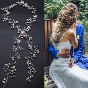 Idealway Handmade Mulheres Pedaço de Cabelo De Cristal De Noiva Strass Branco Simulado-pérola DIY Jóias Acessórios Do Casamento Tiaras Crown