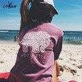Осень Слоновой Кости Элла Отдых Футболка 2016 Женская Clothing Tee Печати Животных Слон Футболка Свободные Длинным Рукавом RS243