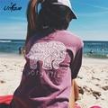 Marfim ella lazer t-shirt 2016 das mulheres de outono clothing tee animal print elefante t camisa solta manga longa rs243