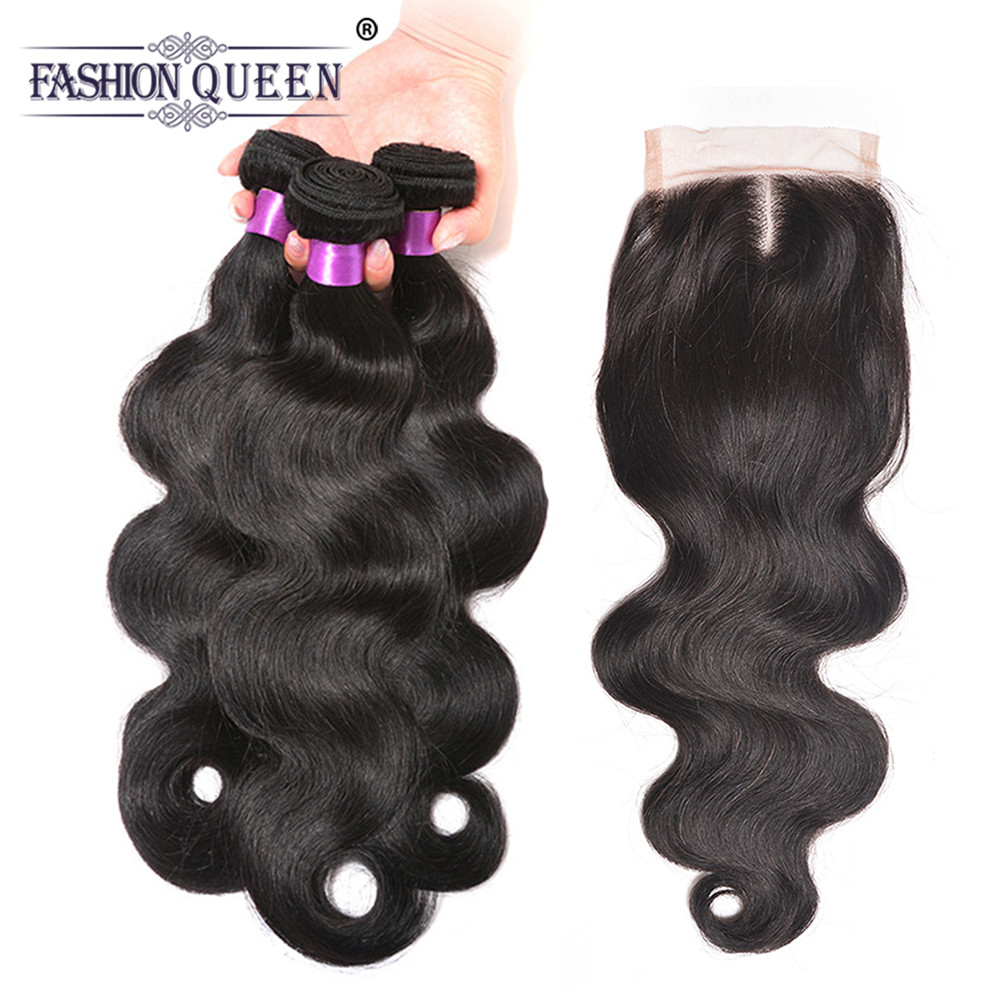 Fashion Queen Hair Product Peruvian Body Wave Human Hair 3 Bundles With Lace Closure 4*4 Middle Part Remy Hair Extensions