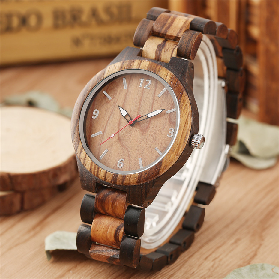 Luxury Ebony Wooden Watch Men's Watches Quartz Timepiece Silver Arabic Numbers Display Casual Men Clock reloj masculino(China)