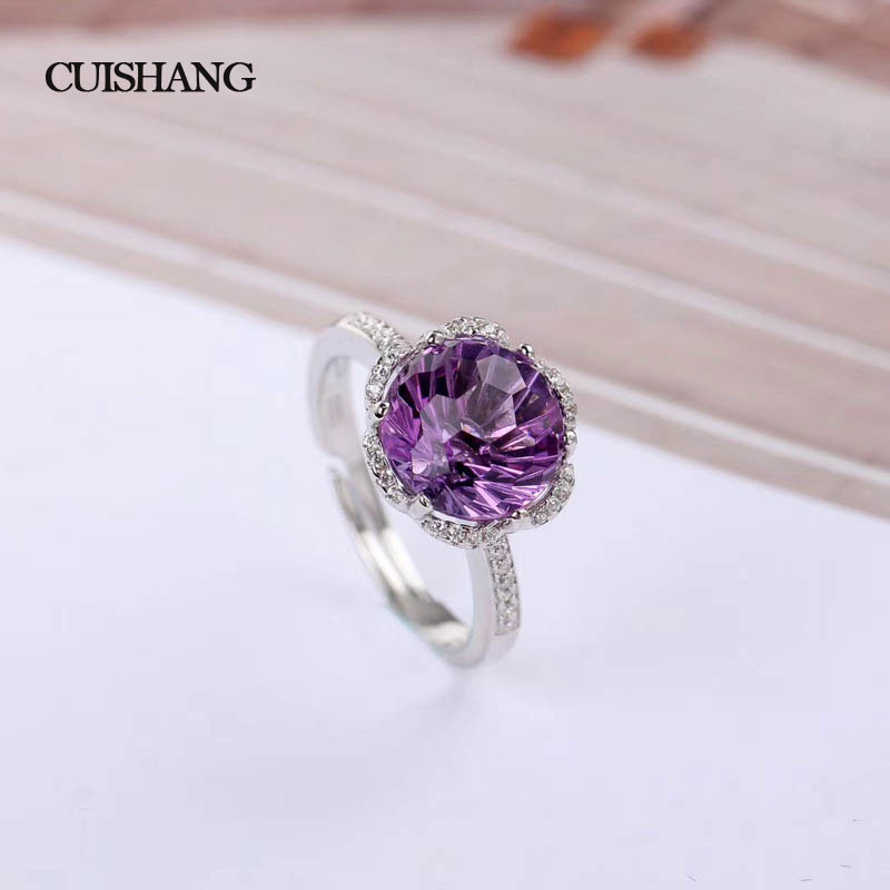 CSJ Fine Jewelry 925 Sterling Silver Ring Real Amethyst Women Wedding Party gift in box