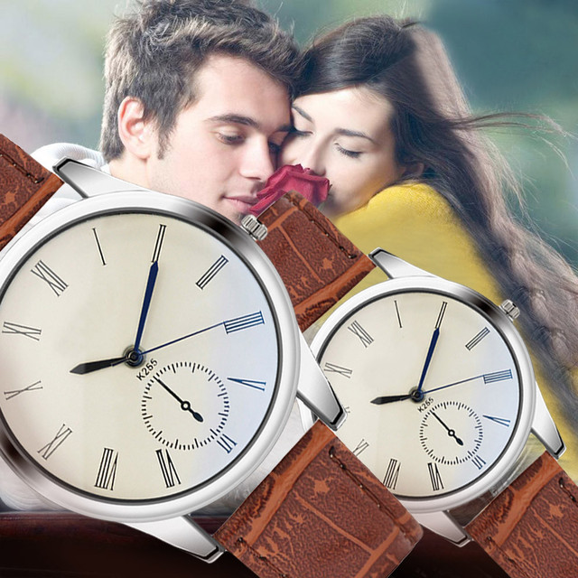 Fashion Women Mens Watch Analog Casual Brown Leather Strap Couple Watches stainl