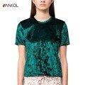 Vancol 2017 verde o pescoço de manga curta camiseta femme de volta slit velvet t shirt mulheres tops streetwear curto primavera topos de veludo