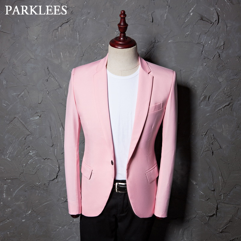 Brand Pink Blazer Jacket Men Casual Slim Fit Notched Lapel Wedding Tuxedo Dress Suit Coats Singer Work Party Prom Costumes Homme
