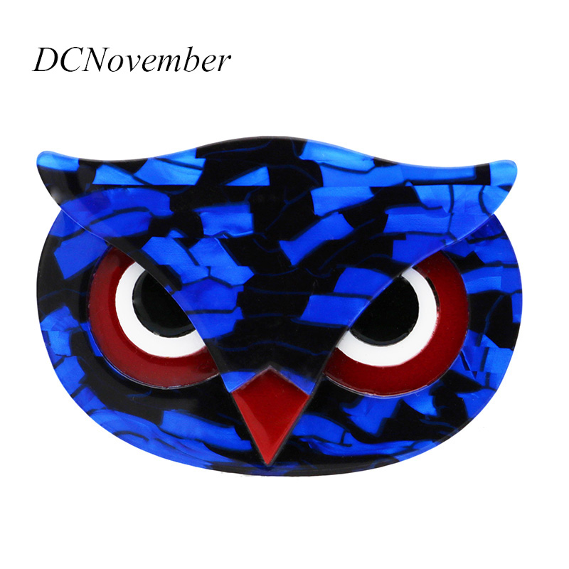 Vintage Owl Brooches for Women Acetate Fiber Animal Owl Head Brooch Pin Acrylic Resin Environmental Brooch Jewelry