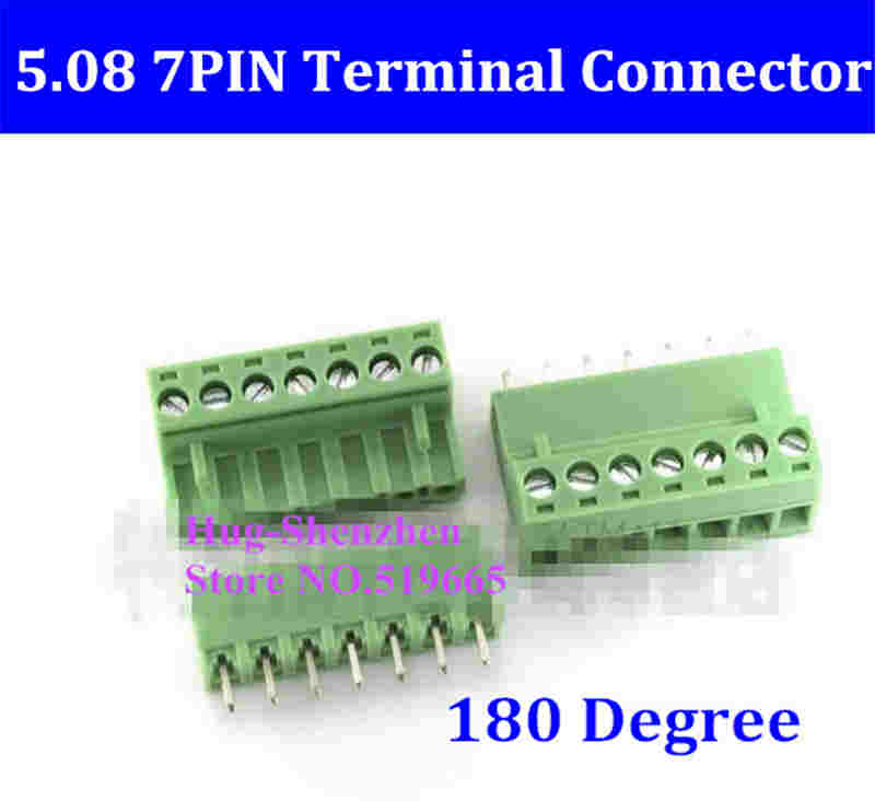 5.08 5.08mm 7pin 7-Pin Terminal plug type 300V 10A 5.08mm pitch connector pcb screw terminal block 180 degree 10 sets 5 08 2pin terminal plug type 300v 10a 5 08mm pitch connector pcb screw terminal block free shipping