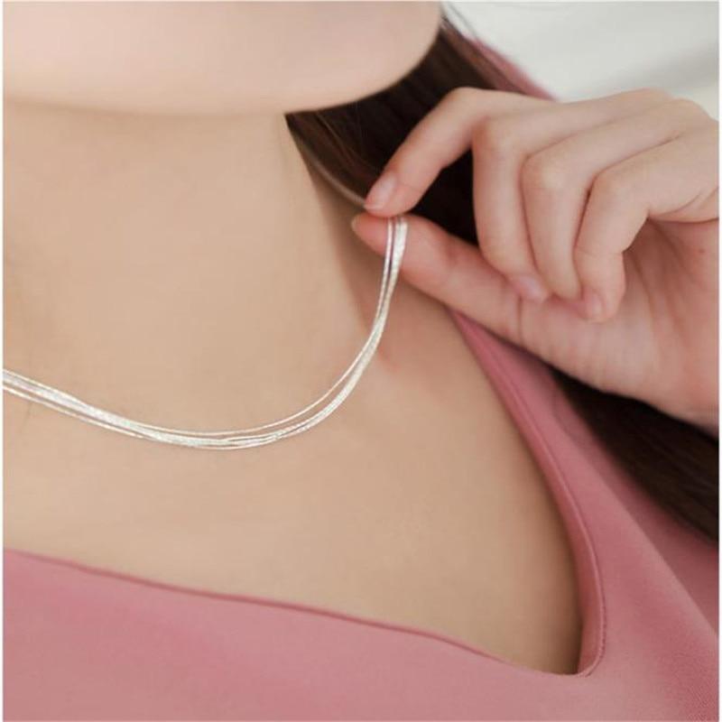 637072618e25 LUKENI nueva moda plata 925 collar gargantilla femenina joyería chica moda  cadena clavícula Collar para Mujer Accesorios de fiesta