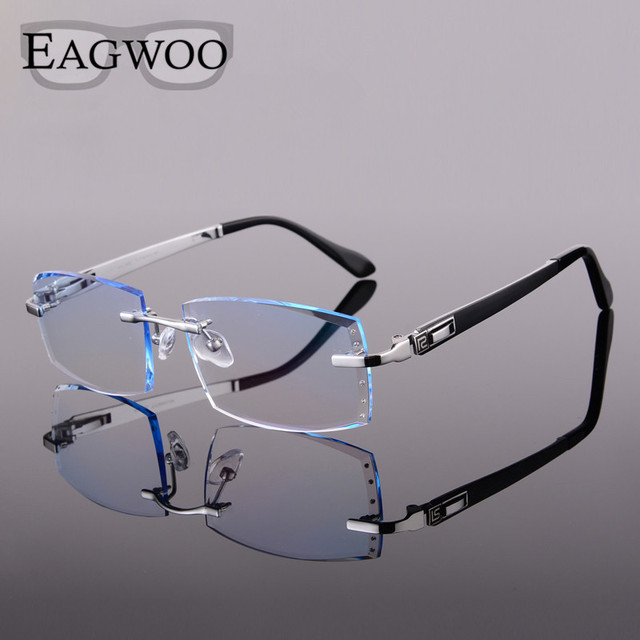 3819bfb816 Titanium Eyeglasses Men Rimless Prescription Reading Myopia Photochromic  Crystal Diamond Color Glasses Frameless Spectacle 2032