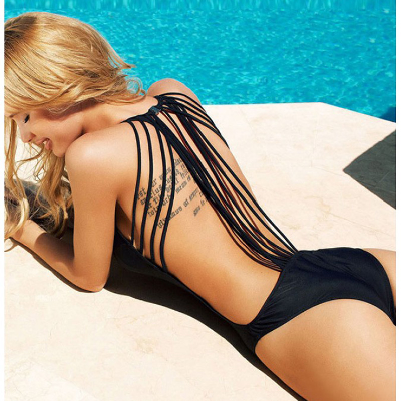 Plus Size Sexy White/Black Swim Suit Backless Sport Swimsuit Women 2019 Ladies Swimwear With Strings  secret designer Friday