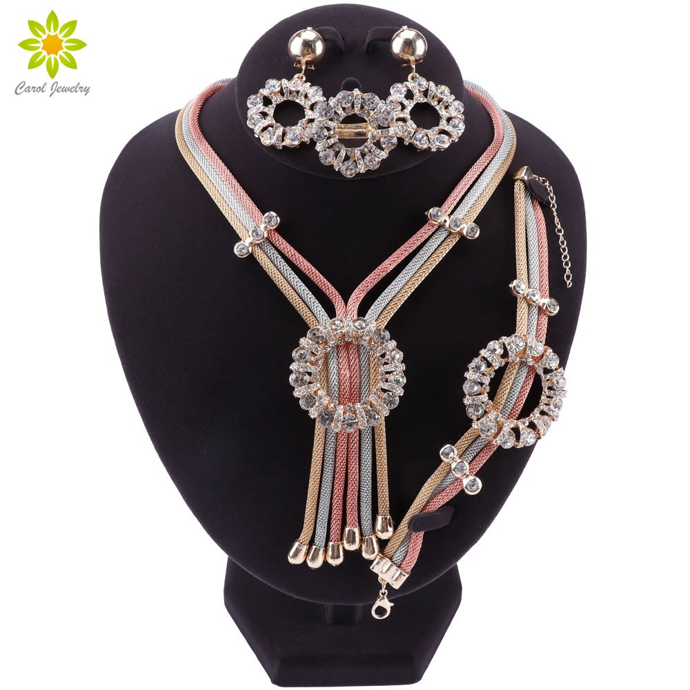 Nigerian Wedding African Beads Jewelry Set Turkish Jewelry Sets For Women Fashion Dubai Multicolor Necklace Earrings Set
