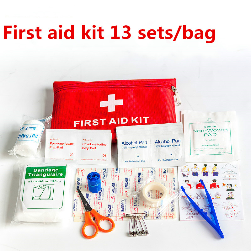 13Pcs/Set Emergency Survival Bag Family First Aid Kit Sport Travel Kits Home Medical Bag Outdoor Car First Aid Bag Hot Sale