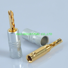 10pcs Copper Audio Banana Speaker 24K gold plated HIFI Cable Plug Connector купить недорого в Москве