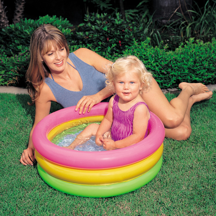 Foldable Children Rainbow Pool Three Rings Baby Inflatable Bathtub Summer Water Toys for Kids Outdoor Indoor Shower Play
