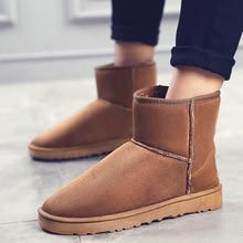 Зимние ботинки Брендовые сапоги до щиколотки на резиновой подошве модная мужская зимняя обувь Мужские зимние сапоги