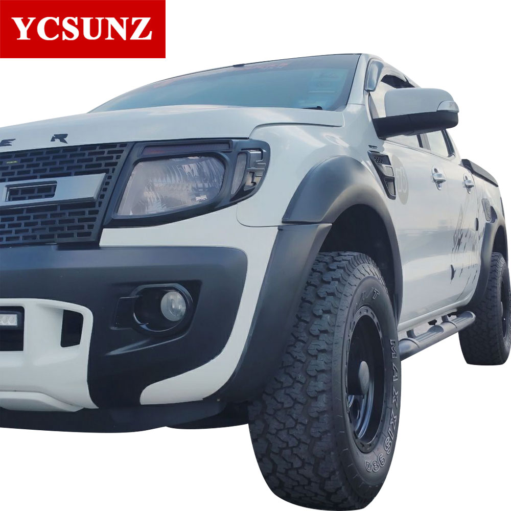 цена на For Ford Ranger T6 2012-2014 fender flares Accessories Black Color Mudguards For Ford Ranger 2012 2013 2014 Car Flares Ycsunz