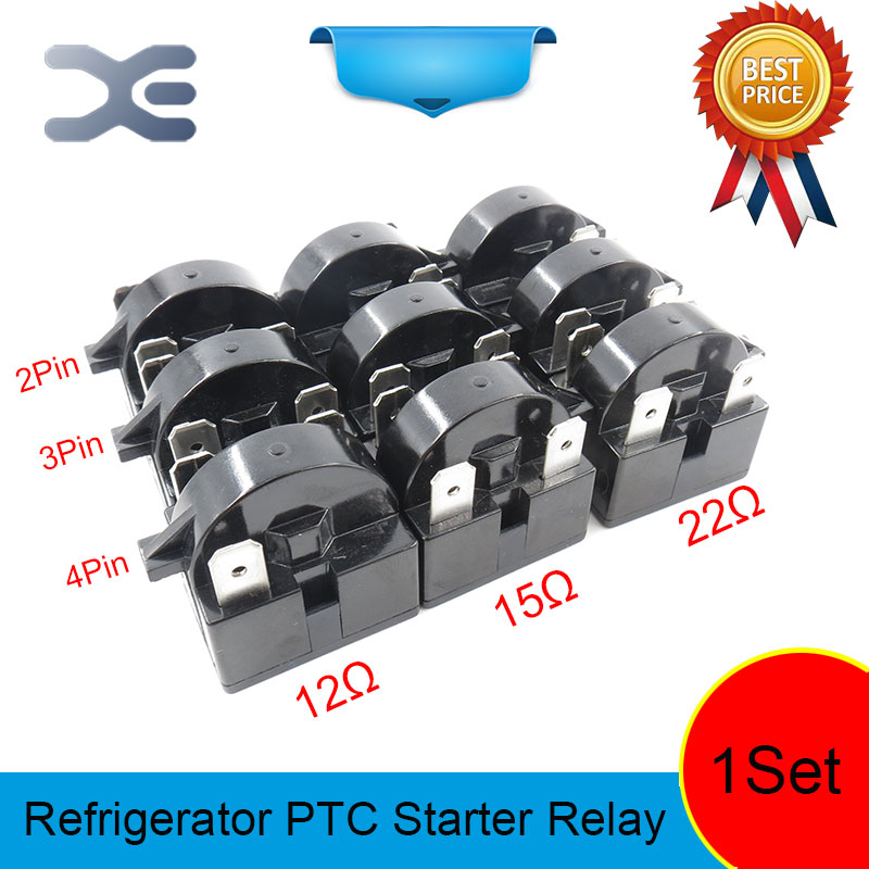 9PCS Refrigerator Spare Parts Starter Parts 2 3 4PIN 12 15 22OHM PTC Starter Relay Accessories Refrigerator Display Refrigerator
