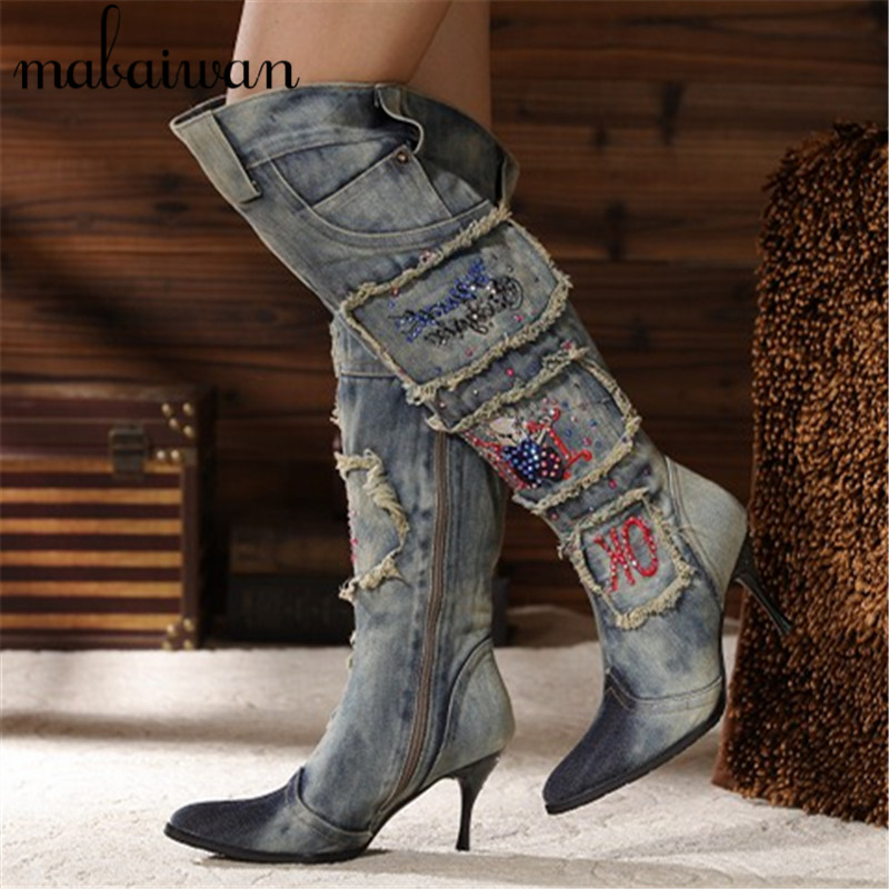 Women Vintage Side Zipper Denim Boots Thin High Heel Pointed Toe Crystal Knee High Boots Winter Warm Jeans Long Botas Mujer