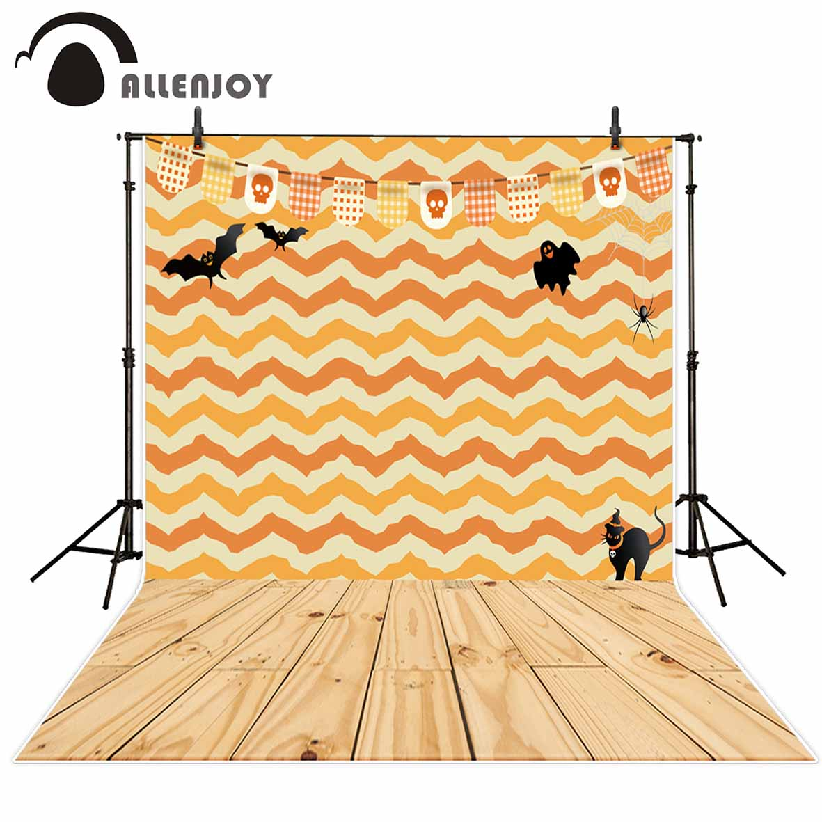 Allenjoy photografia background Pattern Bats Black Cat Warm Halloween backdrop photocall professional custom vintage background